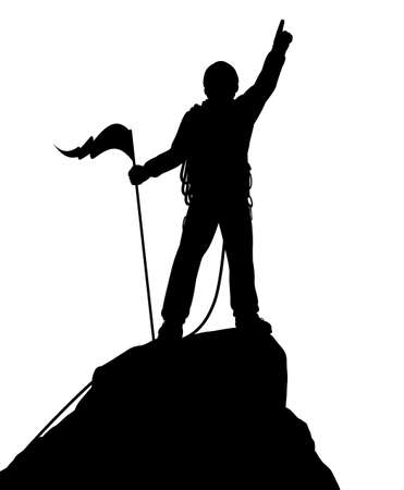 bergsteiger: Editierbare Vektor-Silhouette eines erfolgreichen Bergsteiger auf einem Berg-Gipfel