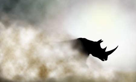nashorn: Editierbare Vektor-Illustration einer Lade Nashorn und Staubwolke unter Verwendung eines Farbverlauf Mesh