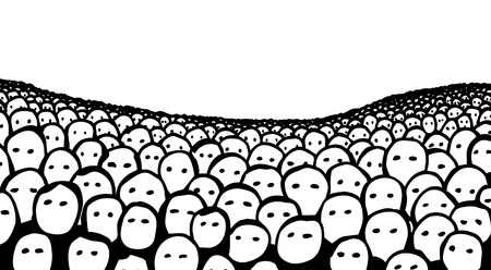 masses: Editable vector illustration of a hand-drawn crowd of faces