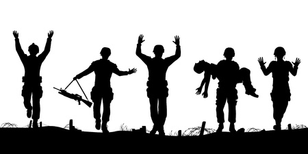 surrender: Editable vector silhouettes of a troop of defeated soldiers surrendering