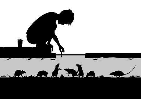 to crouch: Editable vector silhouettes of a young boy feeding rats in a street sewer with all figures as separate objects
