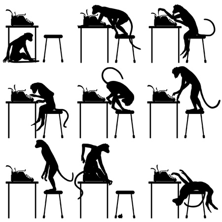 typewriter: Set of editable vector silhouettes of monkeys and typewriters with all figures as separate objects