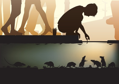 crouch: Editable illustration of a young boy feeding rats in a city sewer made using a gradient mesh Illustration