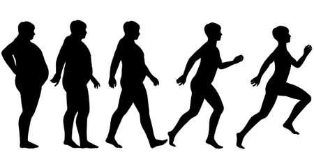 hombre flaco: Editable secuencia silueta de un hombre perder peso y ganar condici�n f�sica a trav�s del ejercicio Vectores