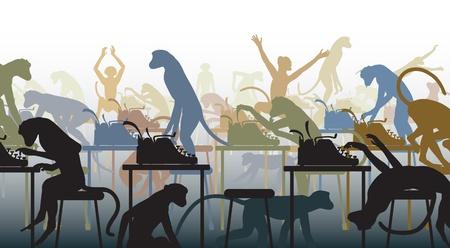 would: Editableillustration di dire che un numero infinito di scimmie con macchine da scrivere sarebbe venuto fuori con le opere di Shakespeare Vettoriali