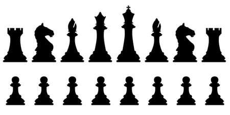 chess knight: Siluetas vectoriales editables de un conjunto de piezas de ajedrez est�ndar Vectores