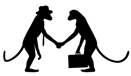 Editable vector silhouettes of two monkeys shaking hands with all elements as separate objects Illustration