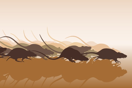 Editable vector illustration of many rats racing or running away Illustration