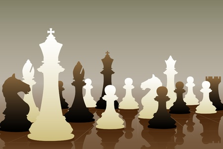 Editable vector illustration of chess pieces in a game Vector