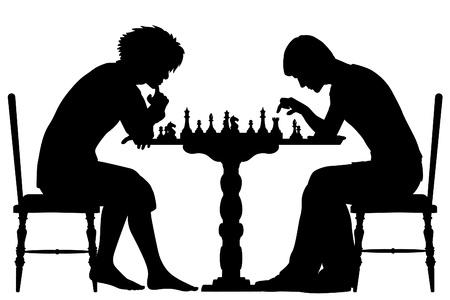 jugando ajedrez: Editable vector siluetas de dos hombres jugando al ajedrez con todos los elementos como objetos separados Vectores
