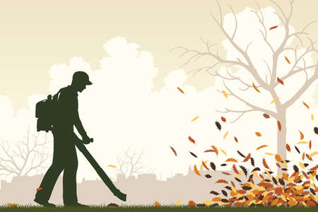 yards: Editable vector illustration of a man using a leaf-blower to clear leaves