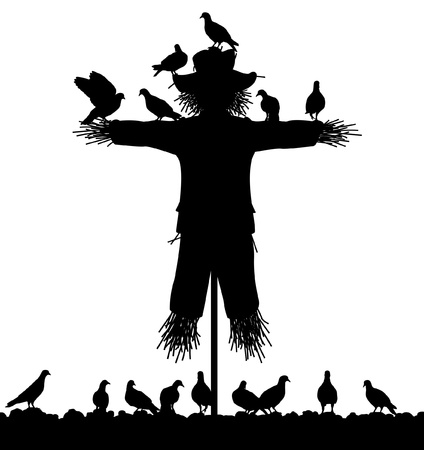 silhouette of a flock of pigeons on a scarecrow with all figures as separate objects Vector