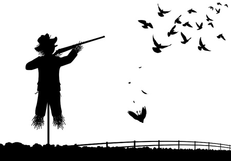wildlife shooting:   silhouette of a scarecrow shooting pigeons with a shotgun