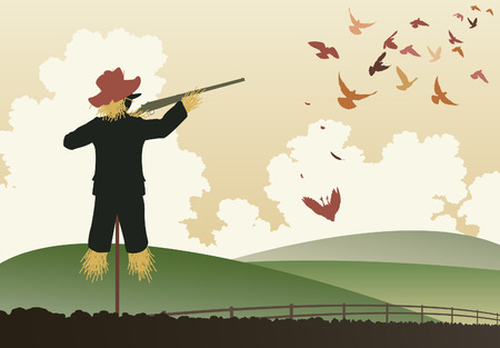 wildlife shooting:   illustration of a scarecrow shooting pigeons with a shotgun