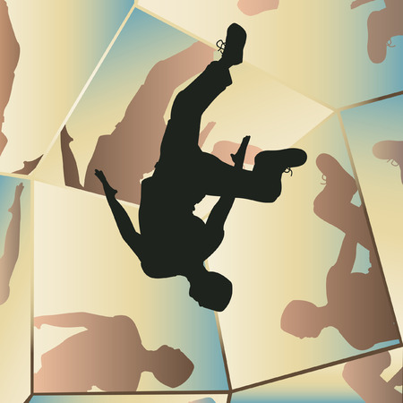somersault:   illustration of a young man somersaulting with mirror reflections