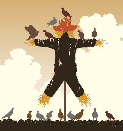silhouette of a flock of pigeons around a scarecrow