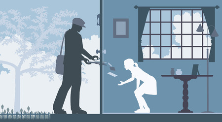 mailman:  illustration of a mailman delivering letters to a house with a girl waiting inside