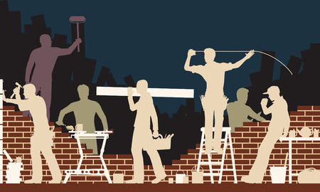 unfinished:  colorful illustration of builders and bricklayers