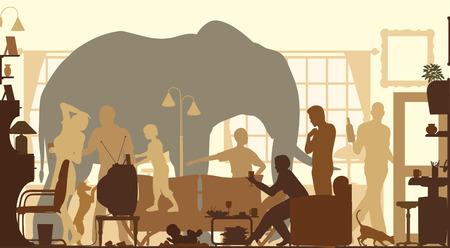 elephant: bóng vector có thể chỉnh sửa một đứng con voi trong phòng khách một buổi họp mặt gia đình