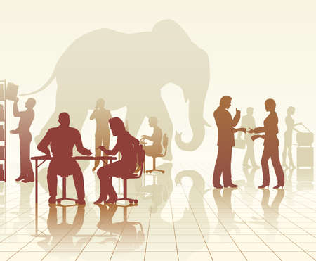 busy office: Editable vector silhouettes of an elephant in a busy office of people with reflections