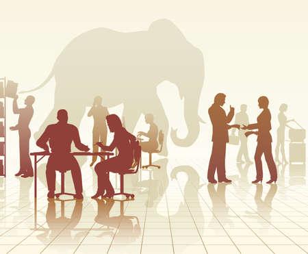 siluetas de elefantes: Siluetas vectoriales editables de un elefante en una oficina ocupada de las personas con reflejos
