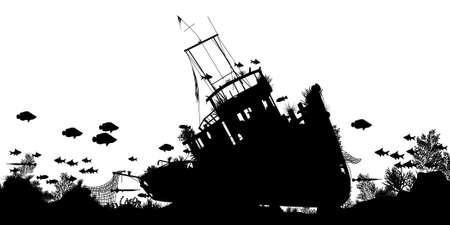 schepen: Editable vector silhouet voorgrond van koraal en vissen rond een gezonken boot met schip en vis als afzonderlijke objecten