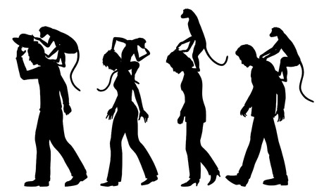Editable vector silhouettes of monkeys on peoples backs with all figures as separate objects
