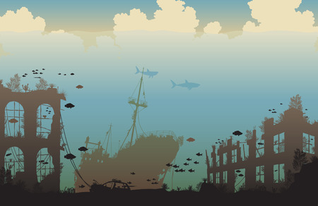 climate change: Editable vector illustration of marine life on a shipwreck and underwater city ruins