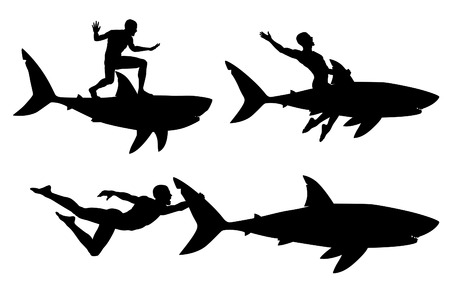 thrill: Editable vector silhouettes of a man riding a shark with men and sharks as separate objects