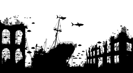 Editable vector foreground silhouette of marine life around a shipwreck and underwater city ruins Illustration