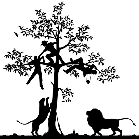 refuge: Editable vector silhouette of three men chased into a tree by a pair of lions with all figures as separate objects Illustration