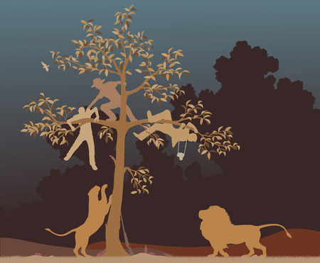 chased: Editable vector illustration of three men chased into a tree by a pair of lions