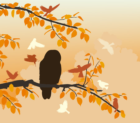 mobbing: Editable vector illustration of songbirds mobbing an owl