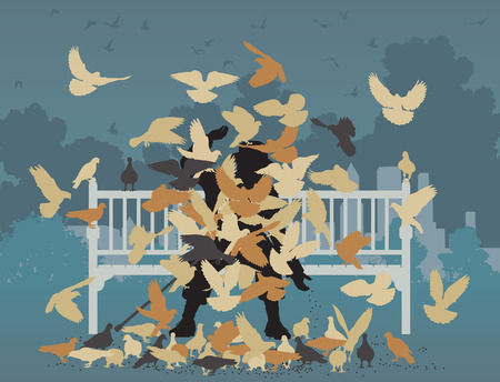 Editable vector illustration of a man on a park bench smothered by pigeons  Illustration