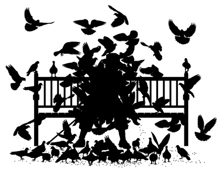 Editable vector silhouettes of a man on a bench smothered by pigeons with all birds as separate objects Vector