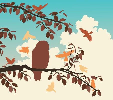 mobbing: Editable vector illustration of songbirds mobbing an owl