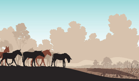 textspace: Editable vector illustration of a herd of zebra or ponies at a watering hole with a waiting crocodile Illustration