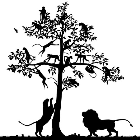 Editable vector silhouette of monkeys in a tree and a pair of lions below with all figures as separate objects Illustration