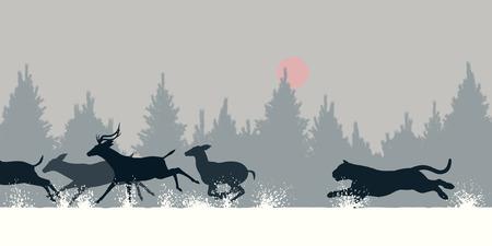 siberian: Editable vector illustration of a Siberian tiger chasing deer through snow Illustration