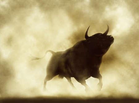toros bravos: Ilustración de una silueta de toro bravo en un ambiente de humo o polvo Foto de archivo