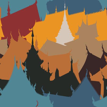 seamless tile of Buddhist temple buildings Illustration