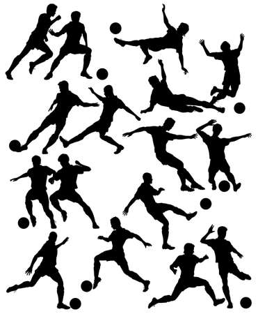 soccer player: silhouettes of men playing football with all figures as separate objects