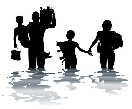 wade: Editable vector illustration of a family carrying belongings through a flood