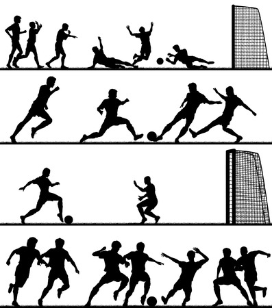 football tackle: Set of editable vector foreground silhouettes of men playing football with all figures as separate objects