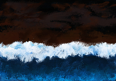 Painting of a high wave breaking with dark sky background