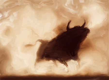 angry bull: Painting of an angry bull with copy-space Stock Photo