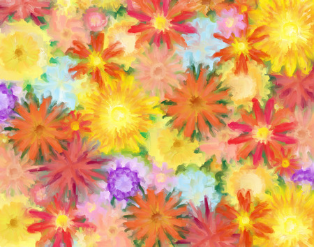 Painting of many colorful generic flowers blooming