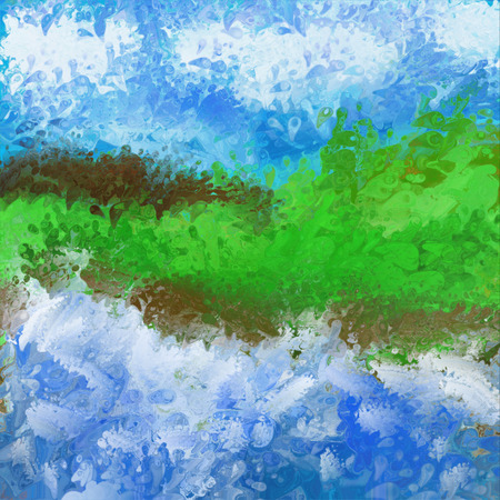 turbulent: Abstract painting of waves breaking on a coastal landscape