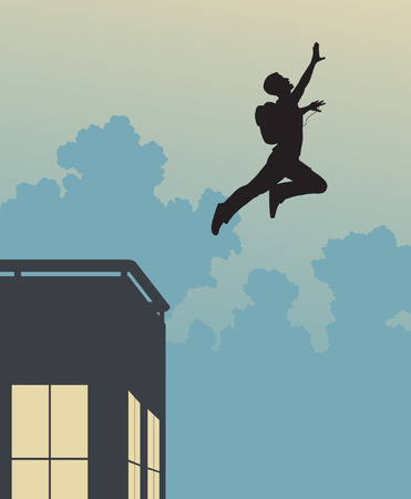 freefall: Editable vector silhouette of a base-jumper leaping off a building