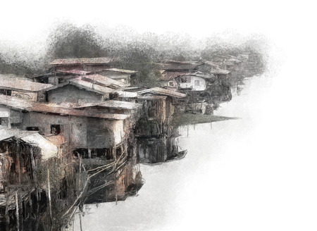 slum: Painting of a canalside slum community in Bangkok Stock Photo
